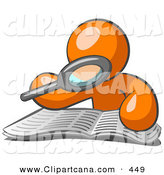 Vector Clip Art of a Orange Man Character Using a Magnifying Glass to Examine an Old Paper by Leo Blanchette