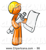 August 14th, 2013: Vector Clip Art of a Orange Man Contractor or Architect Holding Rolled Blueprints and Designs and Wearing a Yellow Worker Hardhat by Leo Blanchette