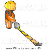 Vector Clip Art of a Orange Man Contractor Wearing a Hardhat, Kneeling and Measuring with a Tape Measurer by Leo Blanchette