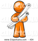 Vector Clip Art of a Orange Man Educated Architect Carrying Rolled Blue Prints and Plans by Leo Blanchette