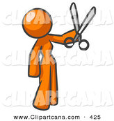 Vector Clip Art of a Orange Woman Standing and Holing up a Pair of Scissors on White by Leo Blanchette
