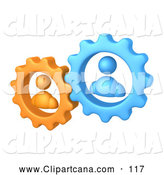 Vector Clip Art of a Pair of Orange and Blue People Inside Gears, Working Together to Solve a Problem by 3poD