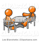 Vector Clip Art of a Pair of Orange Business Men Sitting Across from Eachother at a Table During a Meeting by Leo Blanchette
