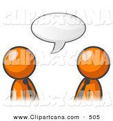 Vector Clip Art of a Pair of Orange Businessmen Having a Conversation with a Text Bubble by Leo Blanchette