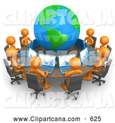 Vector Clip Art of a Professional Group of Orange People Working on Laptops at a Round Table with a Globe in the Center by 3poD