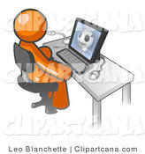 Vector Clip Art of a Professional Orange Doctor Man Sitting at a Computer and Viewing an Xray of a Head by Leo Blanchette