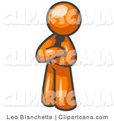 Vector Clip Art of a Proud Orange Businessman Standing with His Arms Crossed by Leo Blanchette