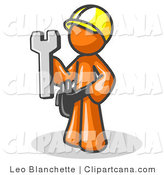 Vector Clip Art of a Proud Orange Male Construction Worker in a Hardhat, Holding a Wrench by Leo Blanchette