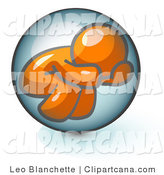 Vector Clip Art of a Scared Orange Man Hiding Inside a Bubble by Leo Blanchette