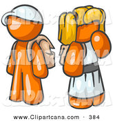 Vector Clip Art of a School Going Orange Boy Wearing a Hat and Carrying a Backpack, Standing Beside a Blond Orange Girl in a Dress, Who Is Also Carrying a Backpack and Holding Her Hand by Her Mouth by Leo Blanchette