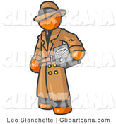 Vector Clip Art of a Secretive Orange Man in a Brown Trench Coat and Hat, Carrying a Box with a Question Mark on It by Leo Blanchette
