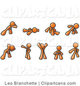 Vector Clip Art of a Series of Orange Men Doing Different Exercises and Stretches in a Fitness Gym by Leo Blanchette