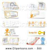 Vector Clip Art of a Set of Community Hotline Website Icons Featuring the Orange Man Character, a Search, Photos, Live Chat, Information, Links, Login and Contest Icons by Leo Blanchette