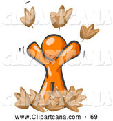 Vector Clip Art of a Shiny and Happy Orange Man Tossing up Autumn Leaves in the Air, Symbolizing Happiness, Freedom, and Being Carefree by Leo Blanchette