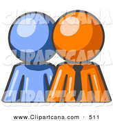 Vector Clip Art of a Shiny Blue Person Standing Beside an Orange Businessman, Symbolizing Teamwork or Mentoring by Leo Blanchette