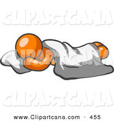 Vector Clip Art of a Shiny Comfortable Orange Man Sleeping on the Floor with a Sheet over Him by Leo Blanchette