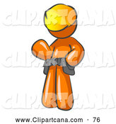 August 26th, 2013: Vector Clip Art of a Shiny Friendly Orange Construction Worker or Handyman Wearing a Hardhat and Tool Belt and Waving by Leo Blanchette