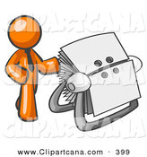 Vector Clip Art of a Shiny Orange Businessman Standing Beside a Rotary Card File with Blank Index Cards by Leo Blanchette