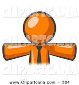Vector Clip Art of a Shiny Orange Businessman Wearing a Tie, Facing Front and Holding His Arms out at His Sides, Perhaps Ready to Hug Someone or Symbolizing Freedom After a Long Day at Work by Leo Blanchette