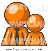 Vector Clip Art of a Shiny Orange Child or Employee Standing Beside a Bigger Orange Businessman, Symbolizing Management, Parenting or Mentorship by Leo Blanchette