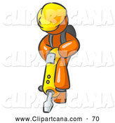 Vector Clip Art of a Shiny Orange Construction Worker Man Wearing a Hardhat and Operating a Yellow Jackhammer While Doing Road Work by Leo Blanchette