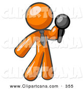 Vector Clip Art of a Shiny Orange Man, a Comedian or Vocalist, Wearing a Tie, Standing on Stage and Holding a Microphone While Singing Karaoke or Telling Jokes by Leo Blanchette