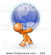 Vector Clip Art of a Shiny Orange Man Carrying the Blue Planet Earth on His Shoulders, Symbolizing Ecology and Going Green by Leo Blanchette