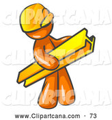 Vector Clip Art of a Shiny Orange Man Construction Worker Wearing a Hardhat and Carrying a Beam at a Work Site by Leo Blanchette