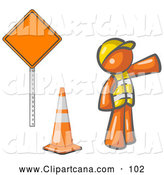 Vector Clip Art of a Shiny Orange Man Construction Worker Wearing a Vest and Hardhat, Pointing While Standing by a Cone and Sign by Leo Blanchette