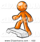 Vector Clip Art of a Shiny Orange Man Doing Step Ups on an Aerobics Platform While Exercising by Leo Blanchette
