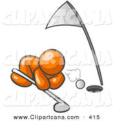 Vector Clip Art of a Shiny Orange Man down on the Ground, Trying to Blow a Golf Ball into the Hole by Leo Blanchette
