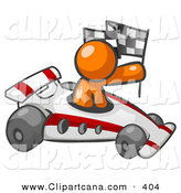 Vector Clip Art of a Shiny Orange Man Driving a Fast Race Car past Flags While Racing by Leo Blanchette