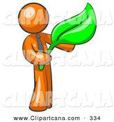 Vector Clip Art of a Shiny Orange Man Holding a Green Leaf, Symbolizing Gardening, Landscaping or Organic Products by Leo Blanchette
