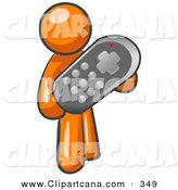 Vector Clip Art of a Shiny Orange Man Holding a Remote Control to a Television by Leo Blanchette