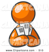 Vector Clip Art of a Shiny Orange Man Holding Three Coupons or Envelopes, Symbolizing Communications or Savings by Leo Blanchette