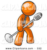 Vector Clip Art of a Shiny Orange Man in a Tie, Singing Songs on Stage During a Concert or at a Karaoke Bar While Tipping the Microphone by Leo Blanchette