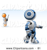 Vector Clip Art of a Shiny Orange Man Inventor Operating an Blue Robot with a Remote Control by Leo Blanchette