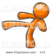 Vector Clip Art of a Shiny Orange Man Kicking, Perhaps While Kickboxing by Leo Blanchette