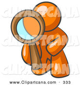 Vector Clip Art of a Shiny Orange Man Kneeling on One Knee to Look Closer at Something While Inspecting or Investigating by Leo Blanchette