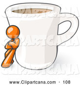 Vector Clip Art of a Shiny Orange Man Leaning Against a Giant White Cup of Coffee by Leo Blanchette
