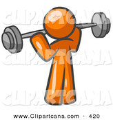 Vector Clip Art of a Shiny Orange Man Lifting a Barbell While Strength Training by Leo Blanchette