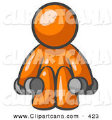 Vector Clip Art of a Shiny Orange Man Lifting Dumbbells While Strength Training by Leo Blanchette