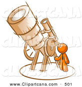 Vector Clip Art of a Shiny Orange Man Looking Through a Huge Telescope up at the Stars in the Night Sky by Leo Blanchette