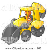 Vector Clip Art of a Shiny Orange Man Operating a Yellow Backhoe Machine at a Construction Site by Leo Blanchette