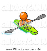 Vector Clip Art of a Shiny Orange Man Paddling down a River in a Green Kayak by Leo Blanchette