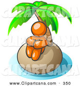 Vector Clip Art of a Shiny Orange Man Sitting All Alone with a Palm Tree on a Deserted Island by Leo Blanchette