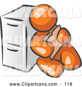 Vector Clip Art of a Shiny Orange Man Sitting by a Filing Cabinet and Holding a Folder by Leo Blanchette