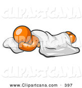 Vector Clip Art of a Shiny Orange Man Sleeping with His Head Resting on a Soft Pillow and a Blanket over Him by Leo Blanchette