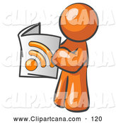 Vector Clip Art of a Shiny Orange Man Standing and Reading an RSS Magazine by Leo Blanchette