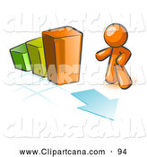 Vector Clip Art of a Shiny Orange Man Standing by an Increasing Green, Yellow and Orange Bar Graph on a Grid Background with an Arrow by Leo Blanchette